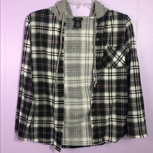 ⚠️5/$15 Rue 21 hooded plaid shirt